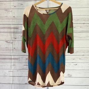 4/$25 Auditions brown green red chevron tunic top